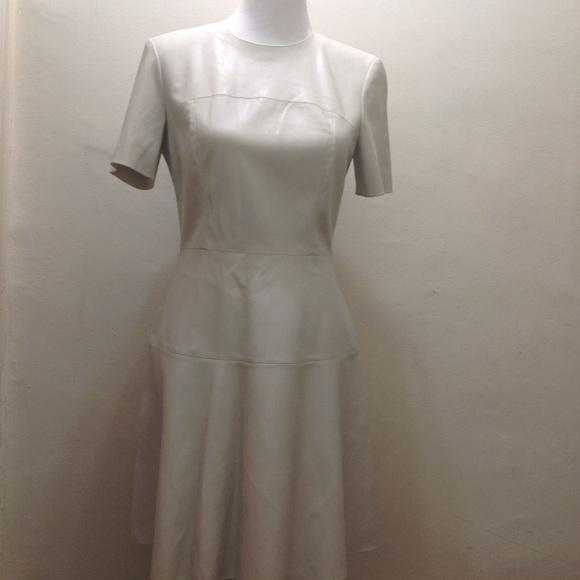 Zara Dresses Off White Vegan Leather Fit Flare Dress